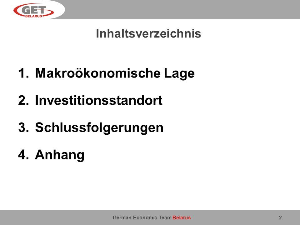 German Economic Team Belarus Inhaltsverzeichnis 1.Makroökonomische Lage 2.Investitionsstandort 3.Schlussfolgerungen 4.Anhang 2