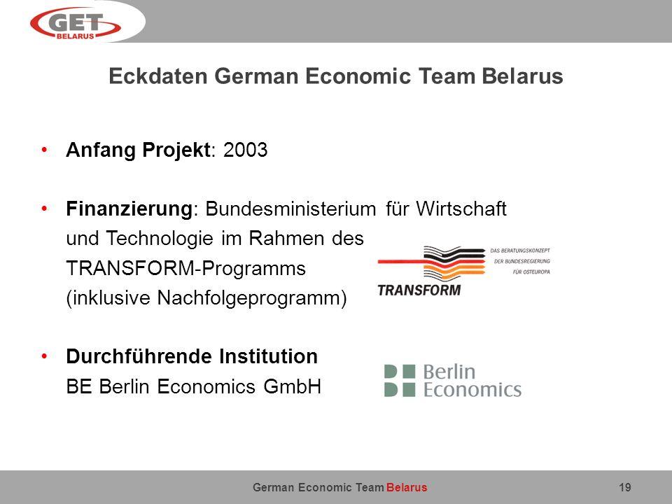 German Economic Team Belarus Eckdaten German Economic Team Belarus Anfang Projekt: 2003 Finanzierung: Bundesministerium für Wirtschaft und Technologie