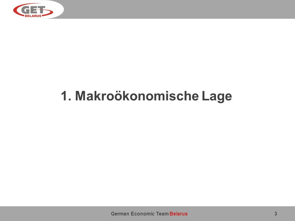 German Economic Team Belarus 1. Makroökonomische Lage 3