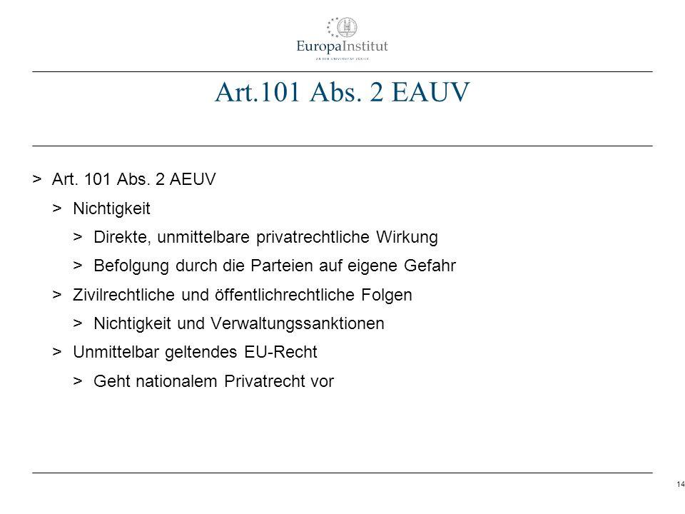 14 Art.101 Abs. 2 EAUV > Art. 101 Abs. 2 AEUV > Nichtigkeit > Direkte, unmittelbare privatrechtliche Wirkung > Befolgung durch die Parteien auf eigene
