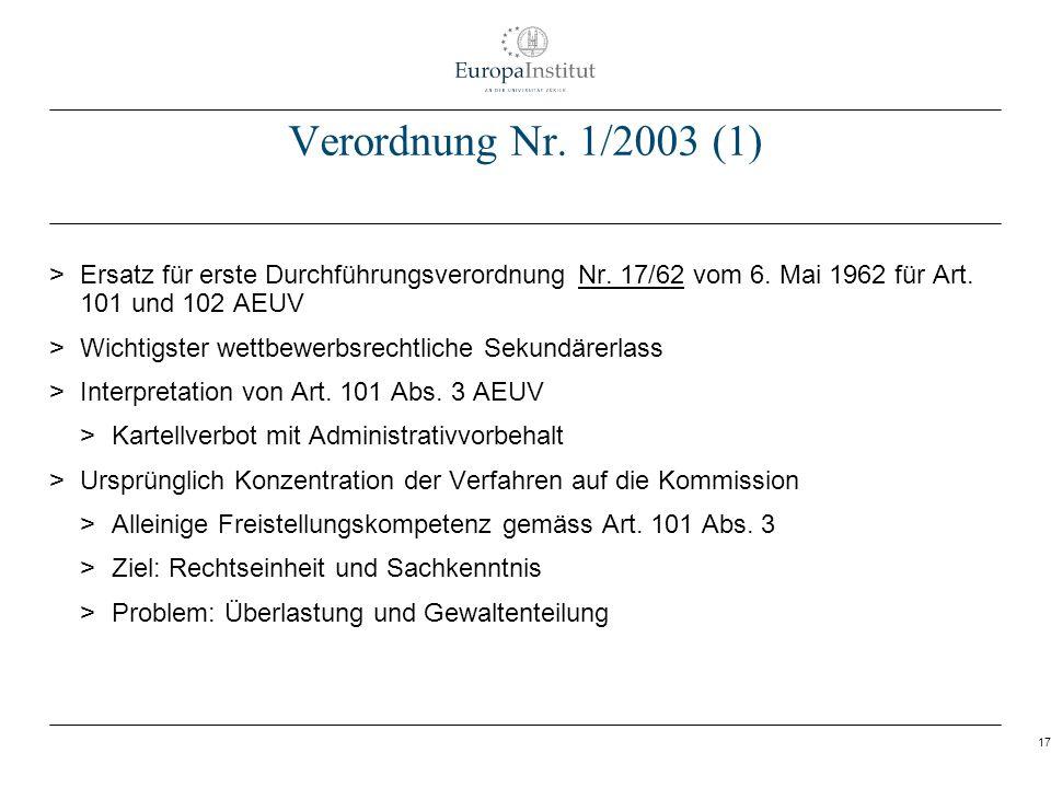 17 Verordnung Nr. 1/2003 (1) > Ersatz für erste Durchführungsverordnung Nr. 17/62 vom 6. Mai 1962 für Art. 101 und 102 AEUV > Wichtigster wettbewerbsr