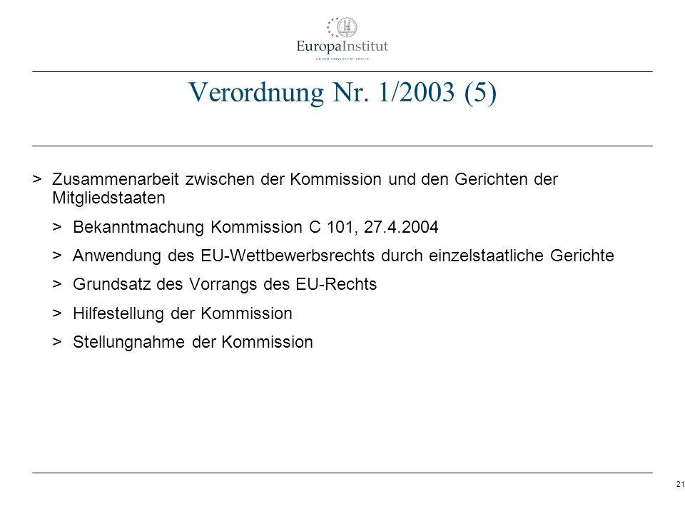 21 Verordnung Nr. 1/2003 (5) > Zusammenarbeit zwischen der Kommission und den Gerichten der Mitgliedstaaten > Bekanntmachung Kommission C 101, 27.4.20