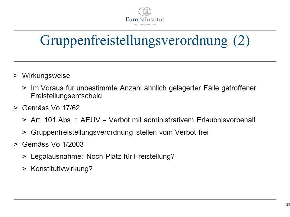 23 Gruppenfreistellungsverordnung (2) > Wirkungsweise > Im Voraus für unbestimmte Anzahl ähnlich gelagerter Fälle getroffener Freistellungsentscheid >