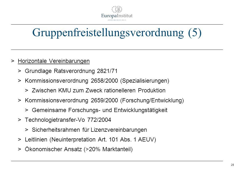 26 Gruppenfreistellungsverordnung (5) > Horizontale Vereinbarungen > Grundlage Ratsverordnung 2821/71 > Kommissionsverordnung 2658/2000 (Spezialisieru