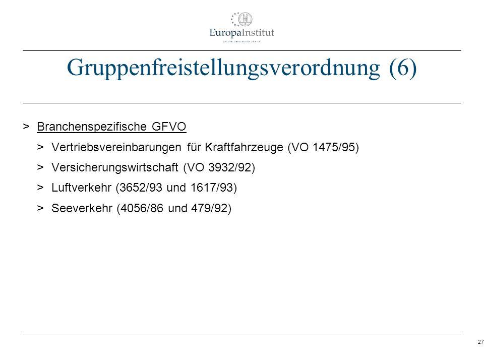 27 Gruppenfreistellungsverordnung (6) > Branchenspezifische GFVO > Vertriebsvereinbarungen für Kraftfahrzeuge (VO 1475/95) > Versicherungswirtschaft (