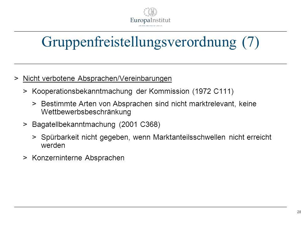 28 Gruppenfreistellungsverordnung (7) > Nicht verbotene Absprachen/Vereinbarungen > Kooperationsbekanntmachung der Kommission (1972 C111) > Bestimmte
