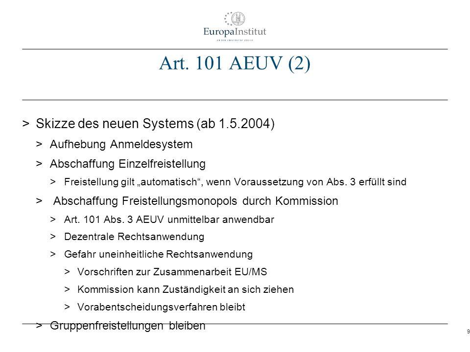 9 Art. 101 AEUV (2) > Skizze des neuen Systems (ab 1.5.2004) > Aufhebung Anmeldesystem > Abschaffung Einzelfreistellung > Freistellung gilt automatisc