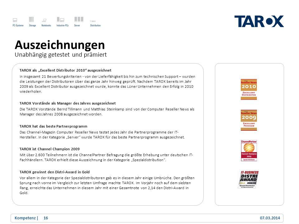 Trend Line TAROX als Excellent Distributor 2010 ausgezeichnet In insgesamt 21 Bewertungskriterien - von der Lieferfähigkeit bis hin zum technischen Su