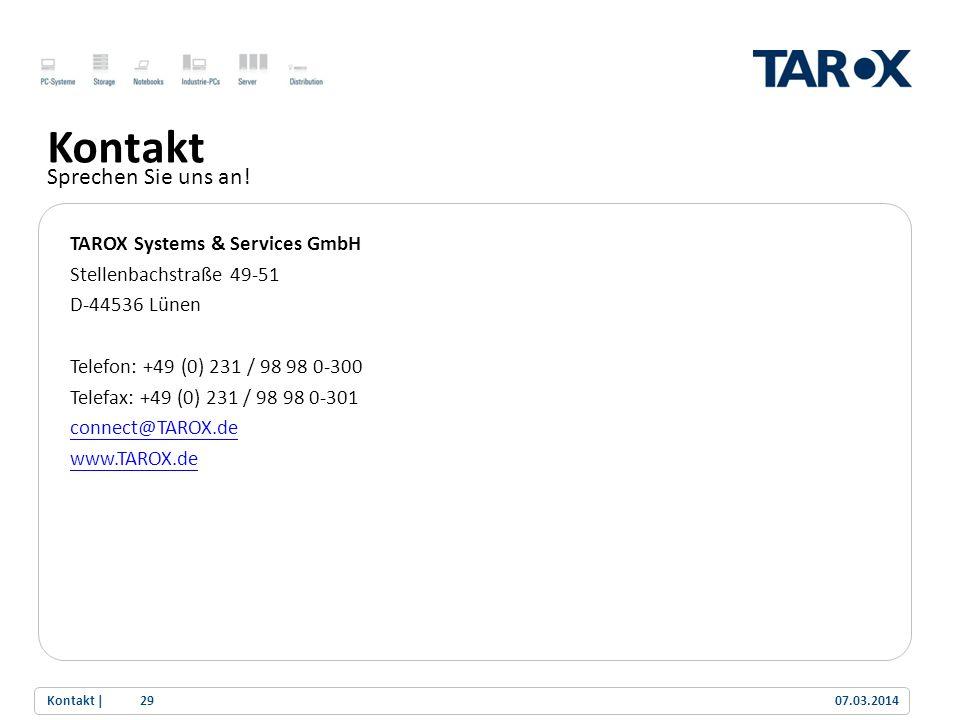 Trend Line Kontakt Sprechen Sie uns an! TAROX Systems & Services GmbH Stellenbachstraße 49-51 D-44536 Lünen Telefon: +49 (0) 231 / 98 98 0-300 Telefax