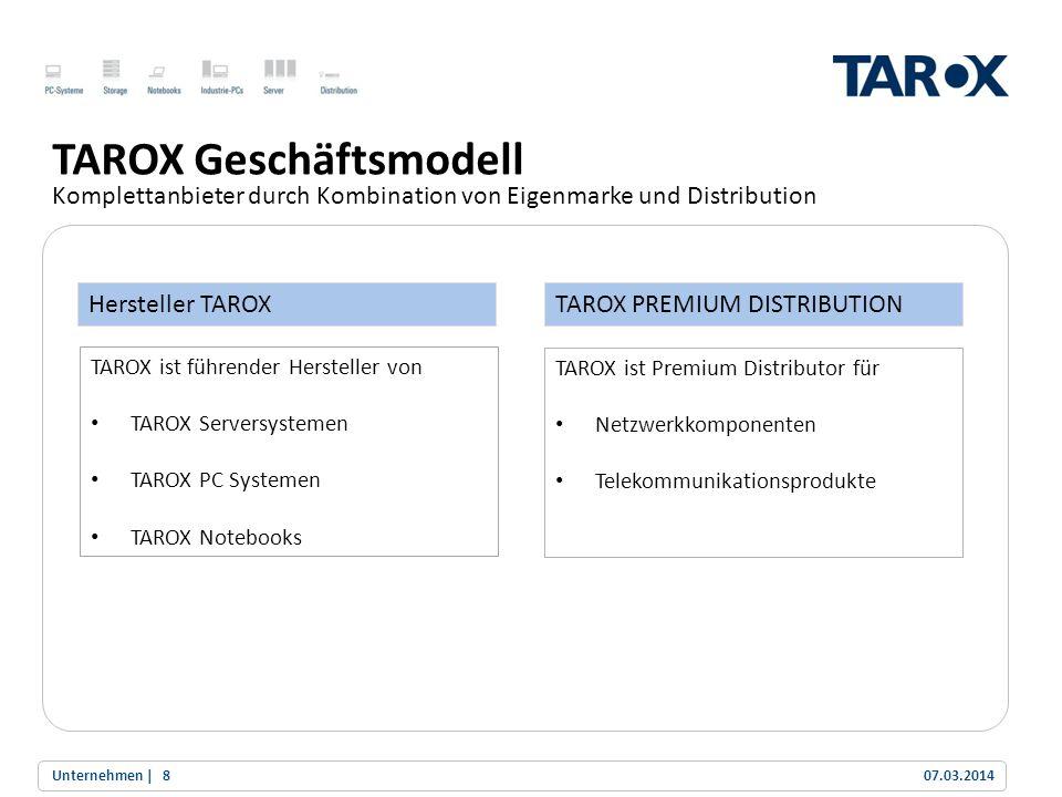 Trend Line TAROX Geschäftsmodell Komplettanbieter durch Kombination von Eigenmarke und Distribution 07.03.2014Unternehmen |8 Hersteller TAROXTAROX PRE