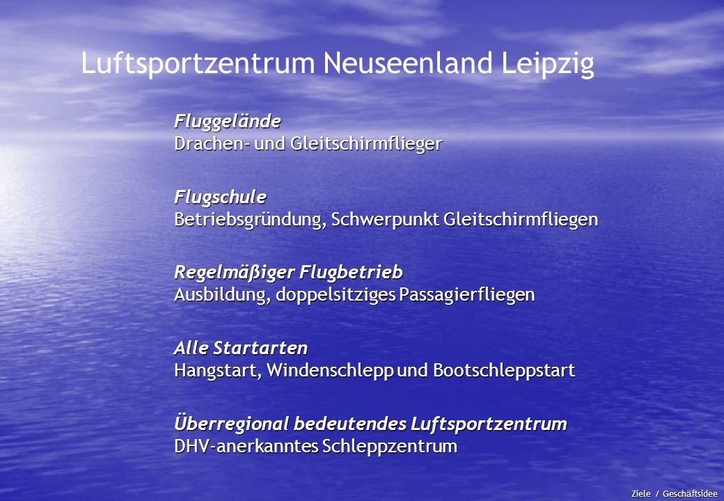Luftsportzentrum Neuseenland Leipzig Fluggelände Drachen- und Gleitschirmflieger Flugschule Betriebsgründung, Schwerpunkt Gleitschirmfliegen Regelmäßi