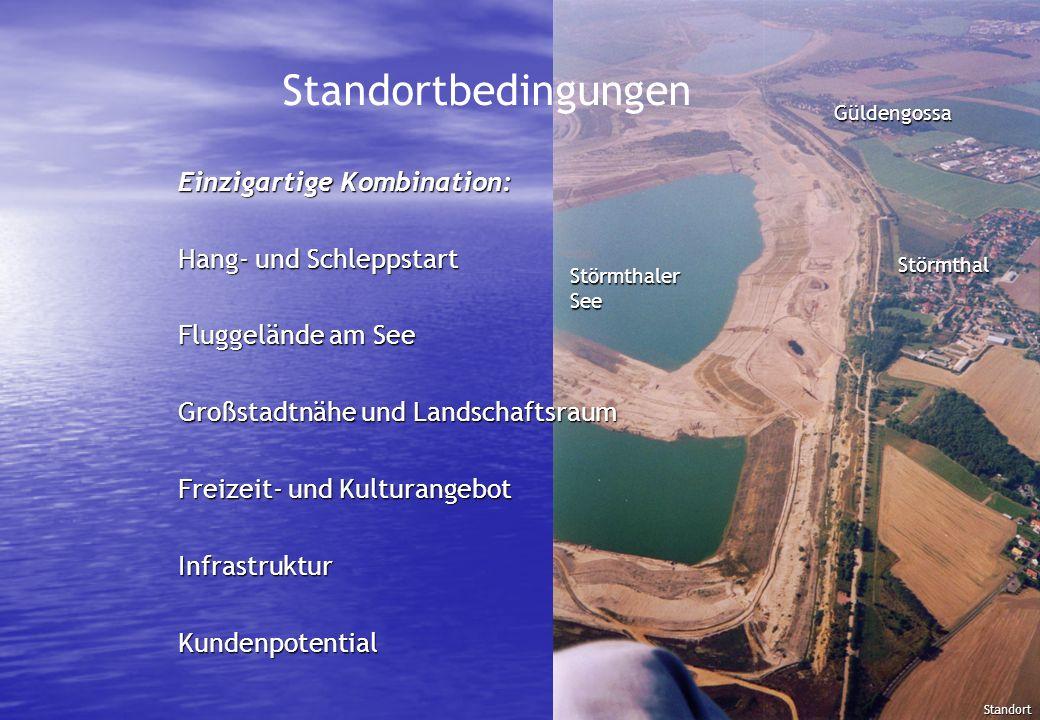 Standortbedingungen Einzigartige Kombination: Hang- und Schleppstart Fluggelände am See Großstadtnähe und Landschaftsraum Freizeit- und Kulturangebot