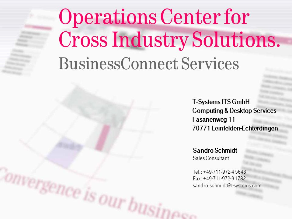 ======! §==Systems= Operations Center for Cross Industry Solutions.