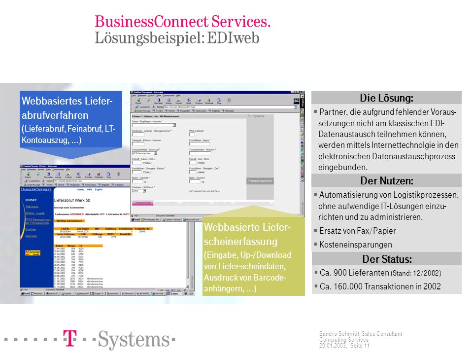 ======! §==Systems= Sandro Schmidt, Sales Consultant Computing Services 20.01.2003, Seite 11 BusinessConnect Services.