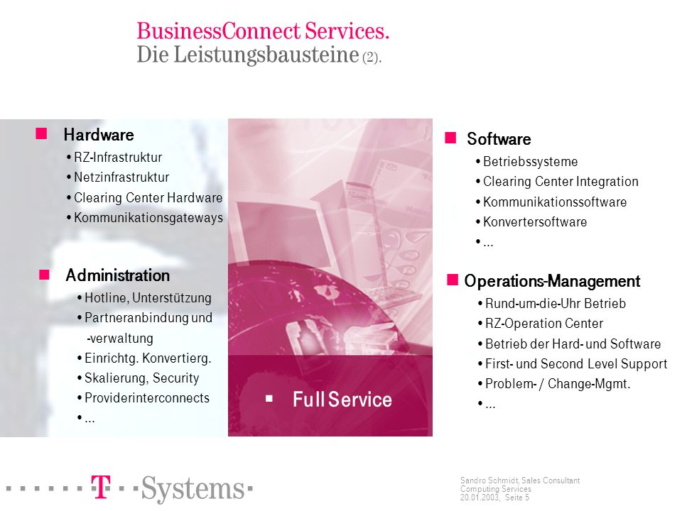 ======! §==Systems= Sandro Schmidt, Sales Consultant Computing Services 20.01.2003, Seite 5 BusinessConnect Services.