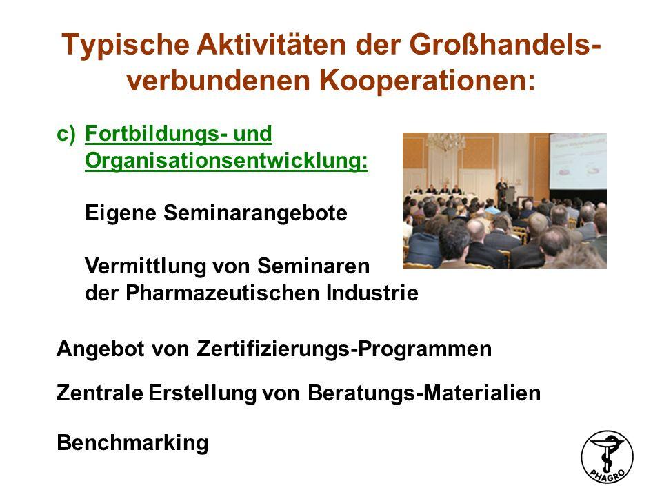 c)Fortbildungs- und Organisationsentwicklung: Eigene Seminarangebote Vermittlung von Seminaren der Pharmazeutischen Industrie Benchmarking Zentrale Er