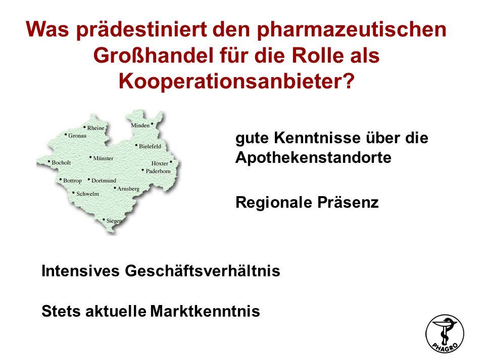 Was prädestiniert den pharmazeutischen Großhandel für die Rolle als Kooperationsanbieter? Intensives Geschäftsverhältnis Stets aktuelle Marktkenntnis