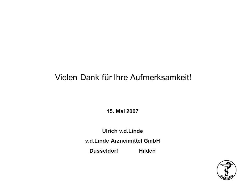 Vielen Dank für Ihre Aufmerksamkeit! 15. Mai 2007 Ulrich v.d.Linde v.d.Linde Arzneimittel GmbH DüsseldorfHilden