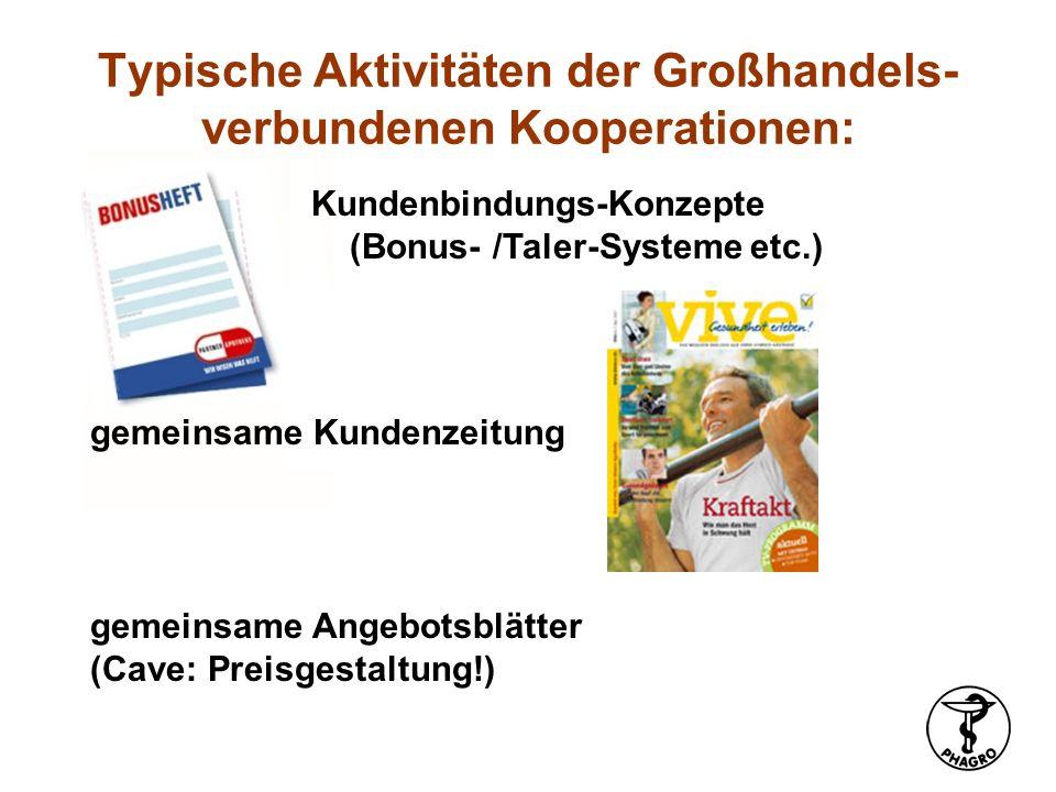 Kundenbindungs-Konzepte (Bonus- /Taler-Systeme etc.) Typische Aktivitäten der Großhandels- verbundenen Kooperationen: gemeinsame Angebotsblätter (Cave