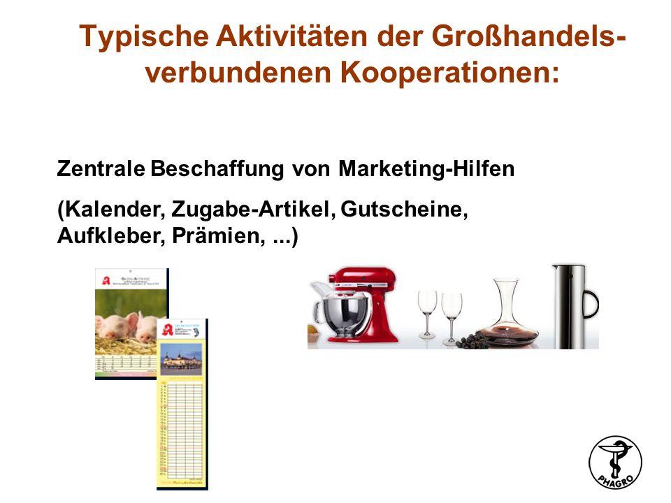 Zentrale Beschaffung von Marketing-Hilfen (Kalender, Zugabe-Artikel, Gutscheine, Aufkleber, Prämien,...) Typische Aktivitäten der Großhandels- verbund