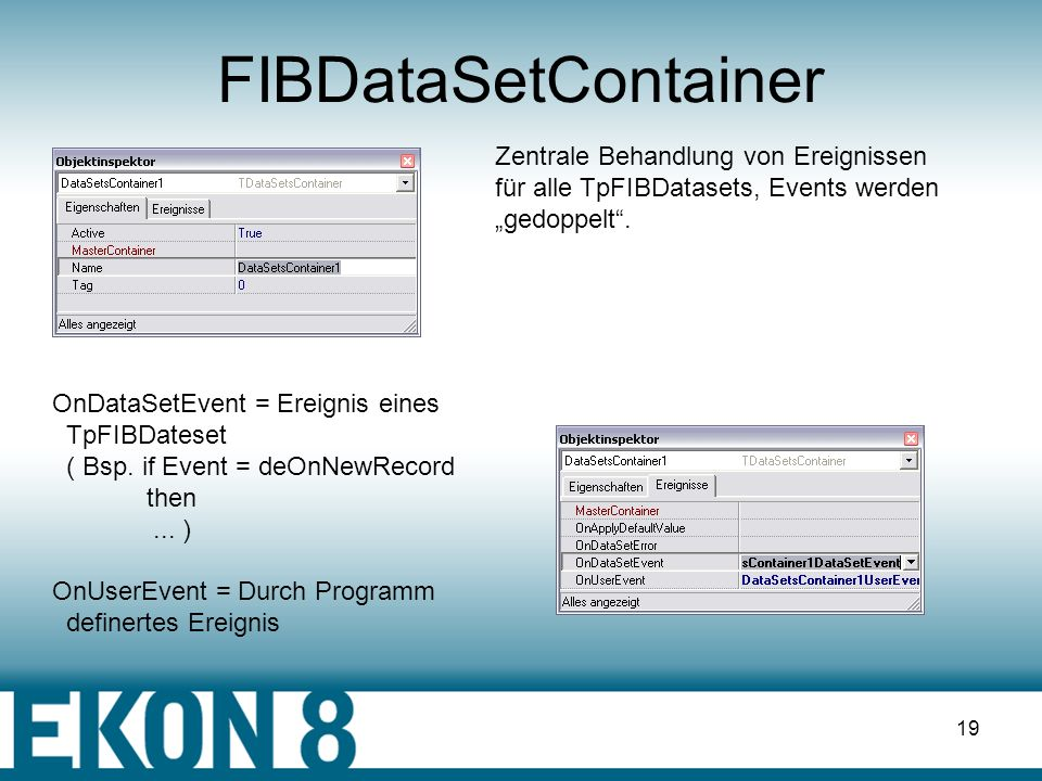 18 FIBDataSet – Arrays-Felder II with ArrayDataSet do begin SetArrayValue(FieldByName('LANGUAGE_REQ'), VarArrayOf([ Edit1.Text, Edit2.Text, Edit3.Text