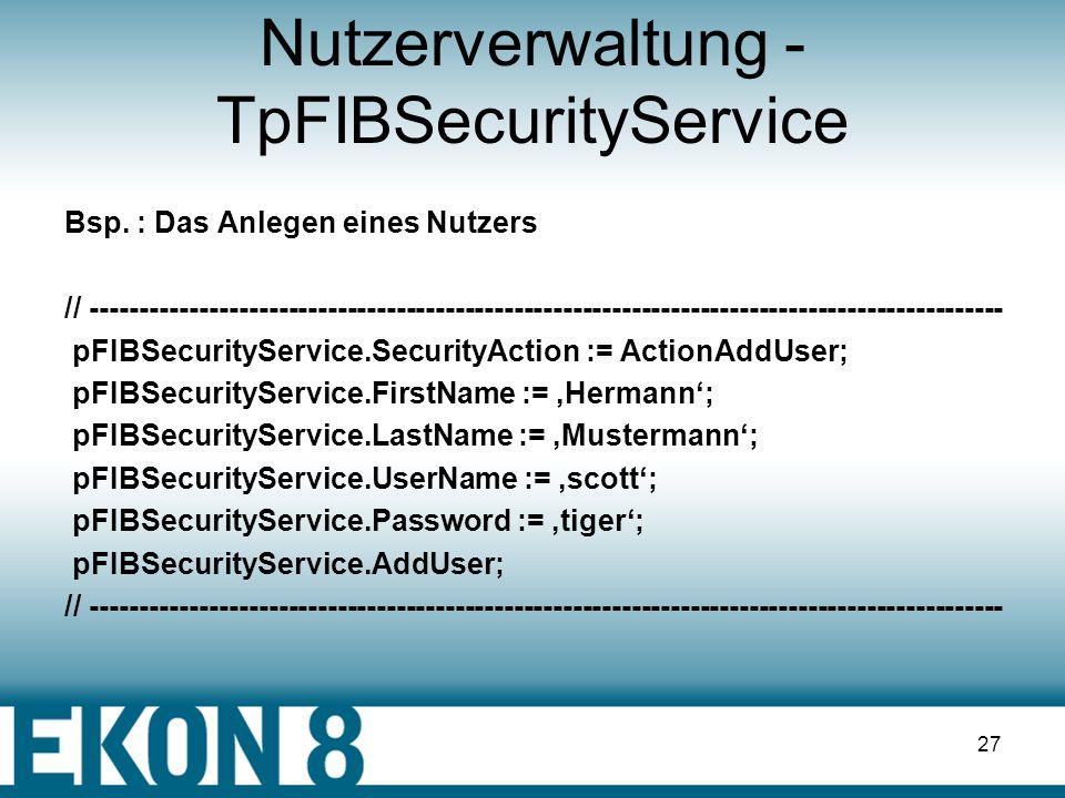 26 FIBSQLMonitor Start : FIBSQLMonitor.Active := true; Protokoll schreiben: procedure TDBMod.FIBSQLMonitorSQL (EventText: String; EventTime: TDateTime); begin writeln ( TraceFile, DateTimeToStr ( EventTime ) + : + EventText ); end; Ende : FIBSQLMonitor.Active := false;