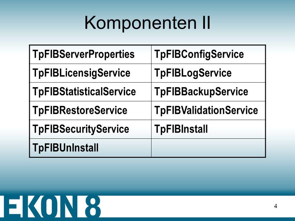 3 Komponenten I TpFIBDatabaseTpFIBDataSet TpFIBTransactionTpFIBQuery TpFIBStoredProcTpFIBUpdateObject TDataSetsContainerTpFibErrorHandler TpFIBStatisticTSIBfibEventAlerter TFIBSQLMonitorTpFIBClientDataSet TpFIBDataSetProvider