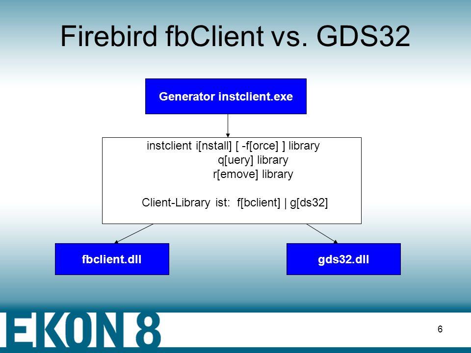 5 Zugriff auf InterBase & FireBird Anwendung fbclient.dllgds32.dll FirebirdInterbase