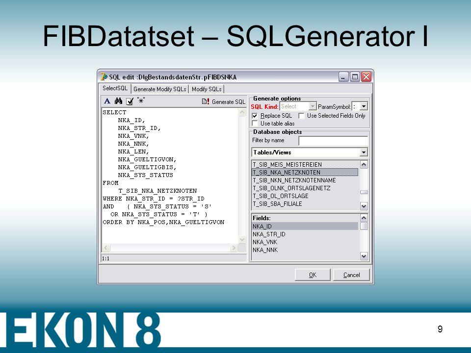 8 FIBDatabase II pFIBDatabase.Connected := false; pFIBDatabase.DBParams.Clear; pFIBDatabase.DBParams.Add ( user_name= + FUsername ); pFIBDatabase.DBParams.Add ( password= + FPassword ); pFIBDatabase.DBParams.Add ( lc_ctype=ISO8859_1 ); pFIBDatabase.DBParams.Add ( SQL_DIALECT=3 ); pFIBDatabase.SQLDialect := 3; pFIBDatabase.DBName := Datenbank; pFIBDatabase.Connected := true;