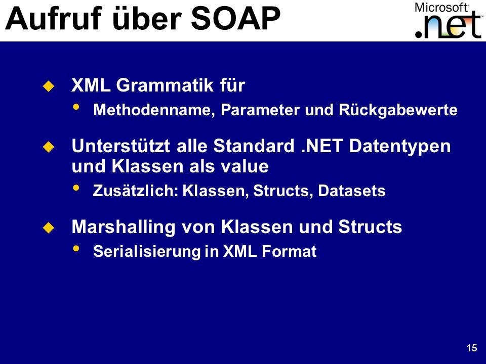 15 Aufruf über SOAP XML Grammatik für Methodenname, Parameter und Rückgabewerte Unterstützt alle Standard.NET Datentypen und Klassen als value Zusätzlich: Klassen, Structs, Datasets Marshalling von Klassen und Structs Serialisierung in XML Format