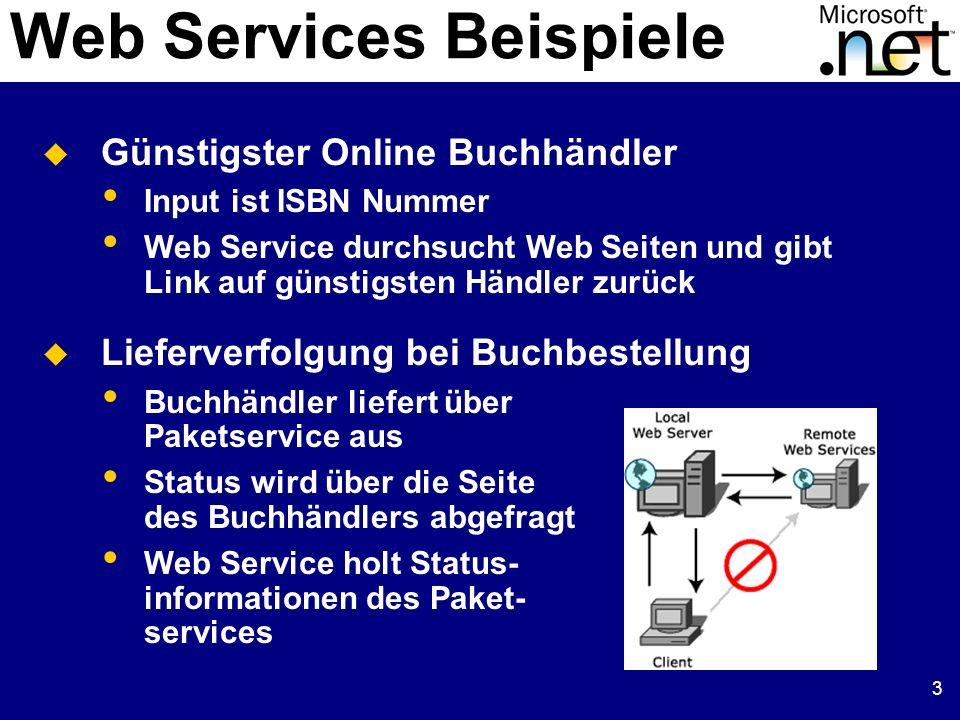 3 Web Services Beispiele Günstigster Online Buchhändler Input ist ISBN Nummer Web Service durchsucht Web Seiten und gibt Link auf günstigsten Händler zurück Lieferverfolgung bei Buchbestellung Buchhändler liefert über Paketservice aus Status wird über die Seite des Buchhändlers abgefragt Web Service holt Status- informationen des Paket- services