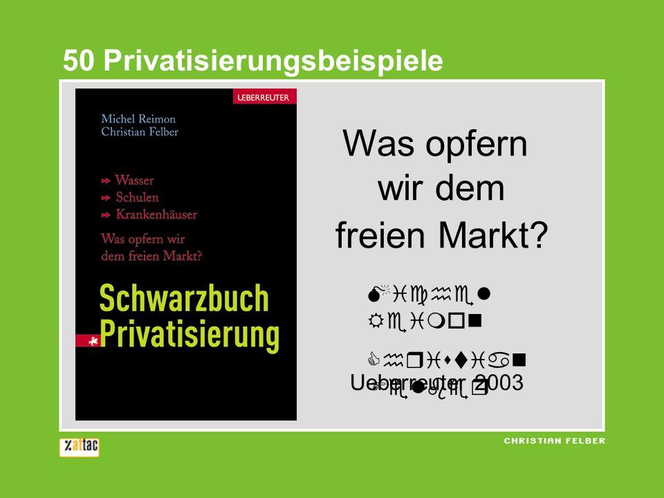50 Privatisierungsbeispiele Was opfern wir dem freien Markt? Michel Reimon Christian Felber Ueberreuter 2003