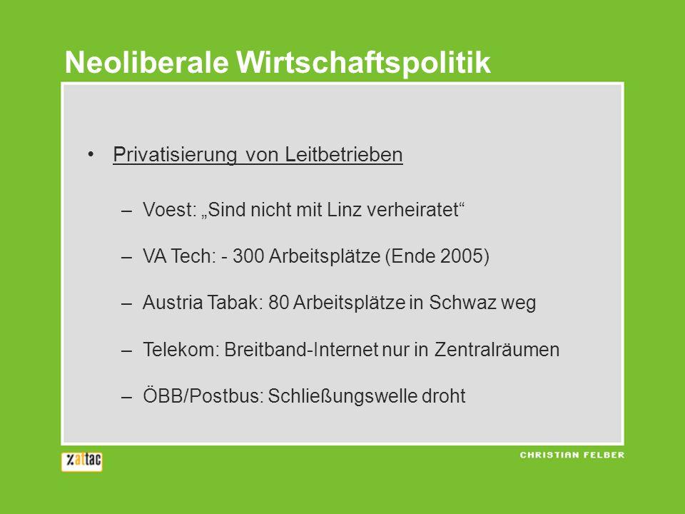 Privatisierung von Leitbetrieben –Voest: Sind nicht mit Linz verheiratet –VA Tech: - 300 Arbeitsplätze (Ende 2005) –Austria Tabak: 80 Arbeitsplätze in