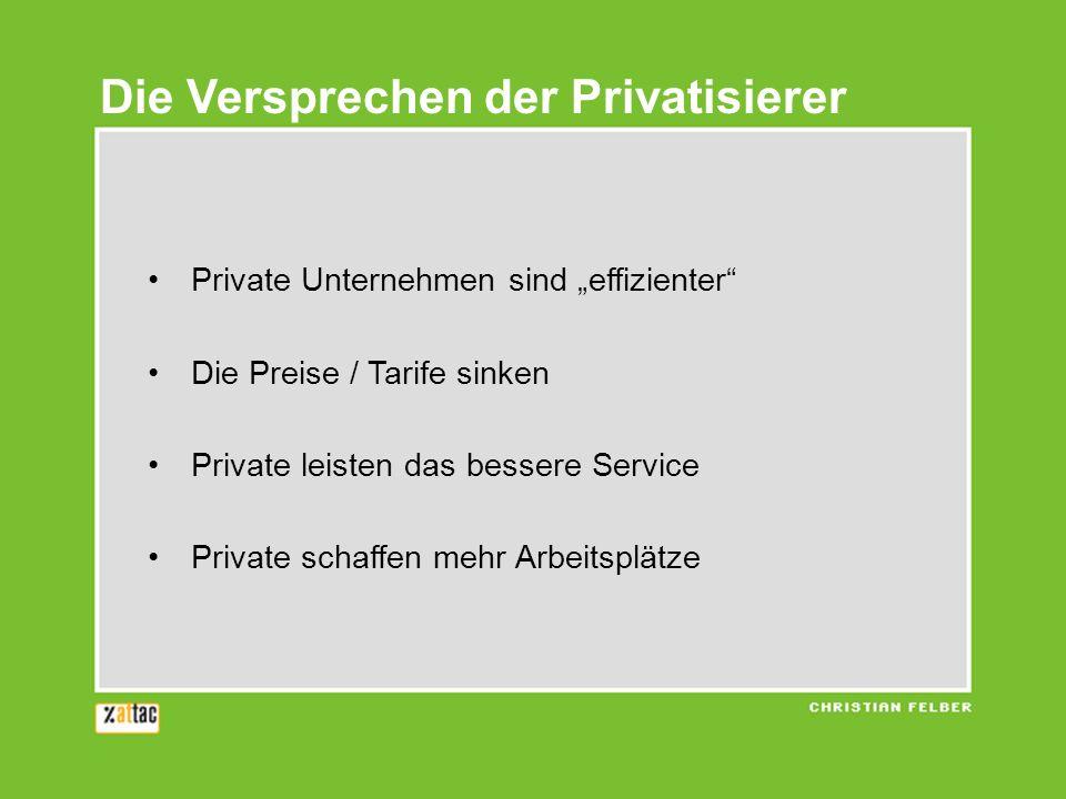 Die Versprechen der Privatisierer Private Unternehmen sind effizienter Die Preise / Tarife sinken Private leisten das bessere Service Private schaffen