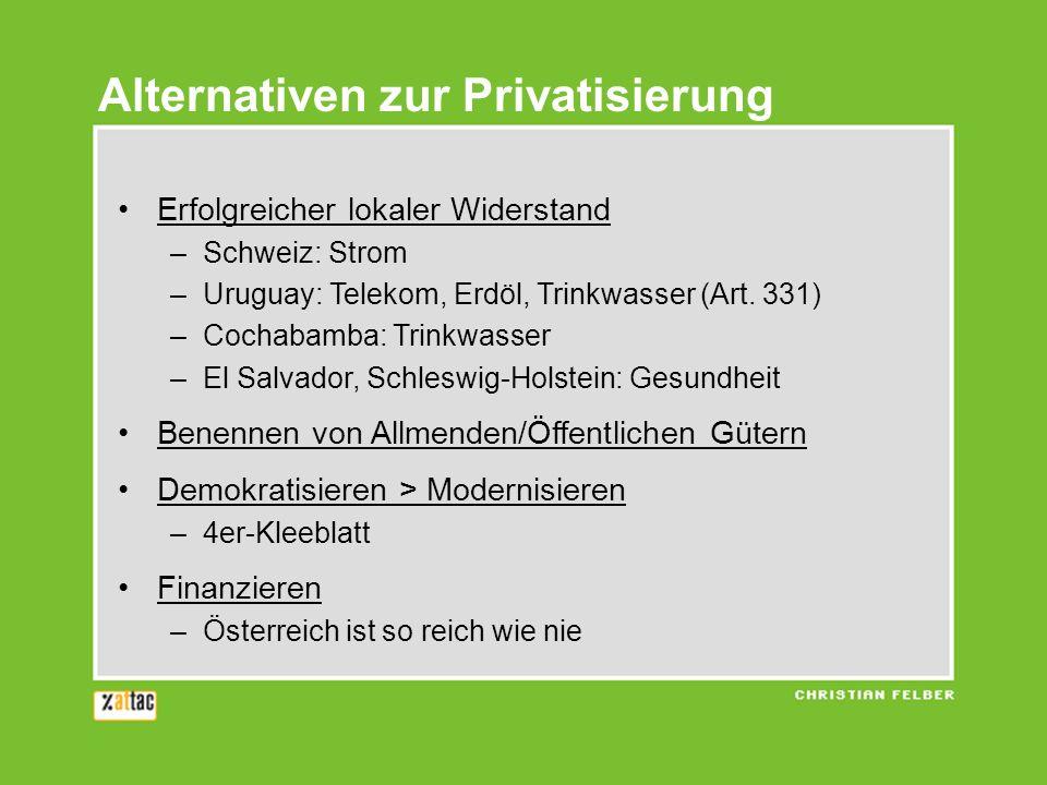 Alternativen zur Privatisierung Erfolgreicher lokaler Widerstand –Schweiz: Strom –Uruguay: Telekom, Erdöl, Trinkwasser (Art. 331) –Cochabamba: Trinkwa