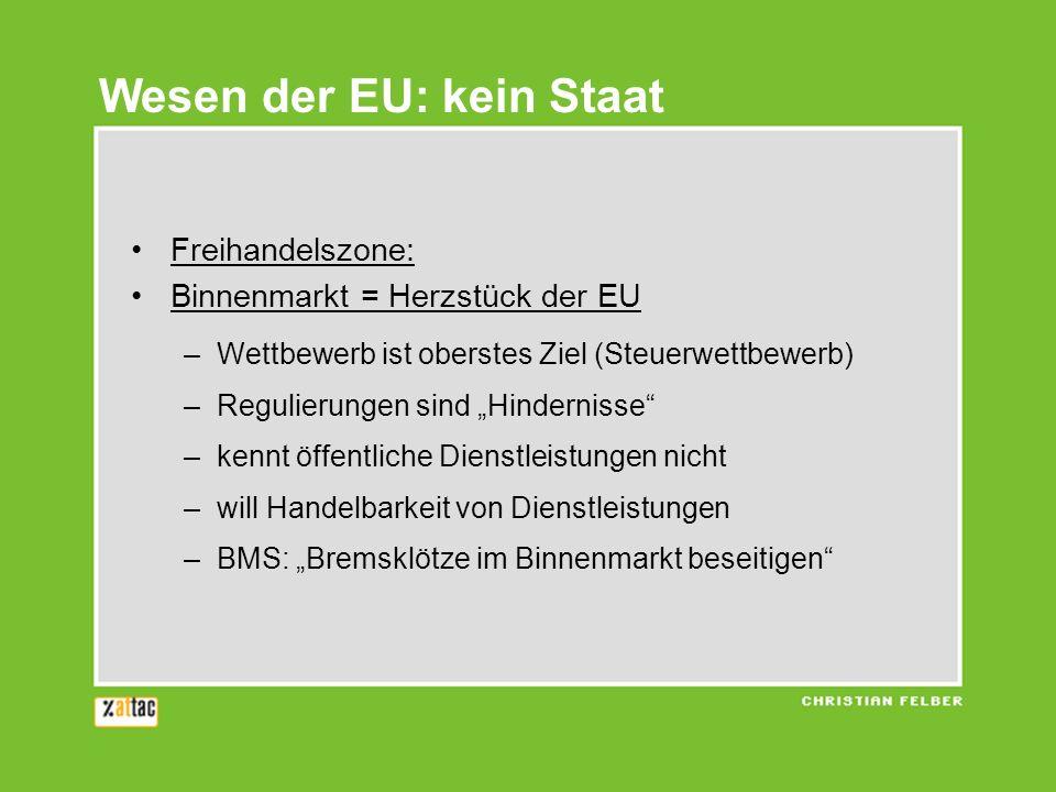 Freihandelszone: Binnenmarkt = Herzstück der EU –Wettbewerb ist oberstes Ziel (Steuerwettbewerb) –Regulierungen sind Hindernisse –kennt öffentliche Di
