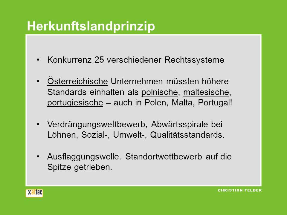 Konkurrenz 25 verschiedener Rechtssysteme Österreichische Unternehmen müssten höhere Standards einhalten als polnische, maltesische, portugiesische –