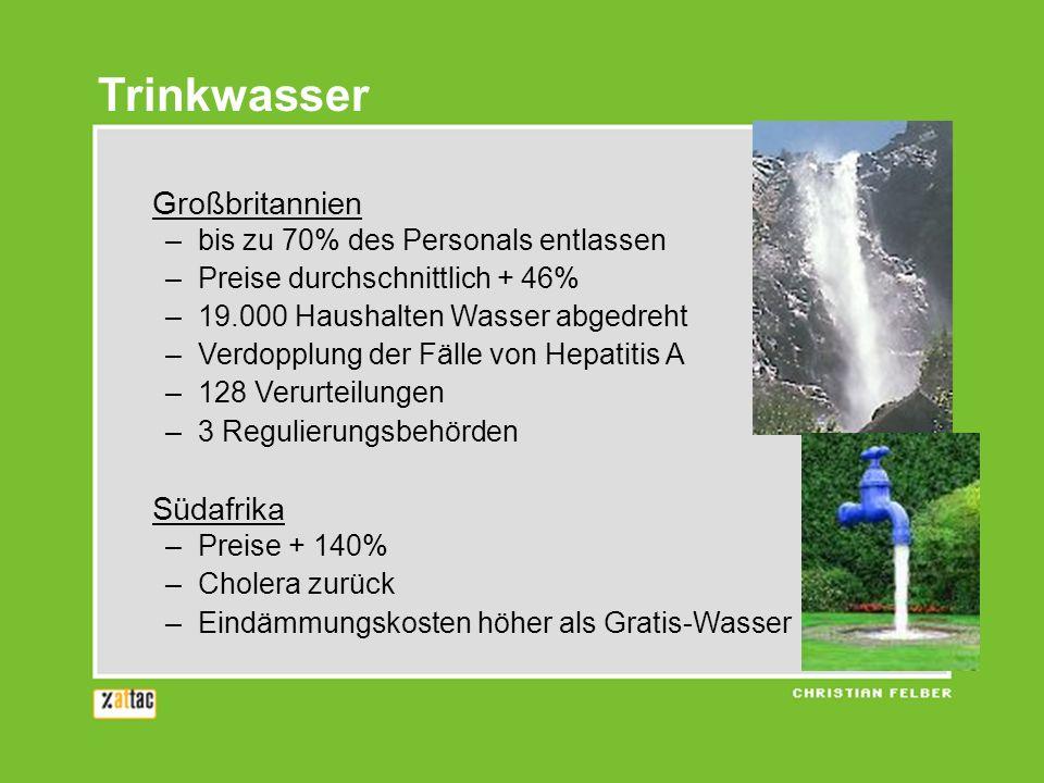 Trinkwasser Großbritannien –bis zu 70% des Personals entlassen –Preise durchschnittlich + 46% –19.000 Haushalten Wasser abgedreht –Verdopplung der Fäl