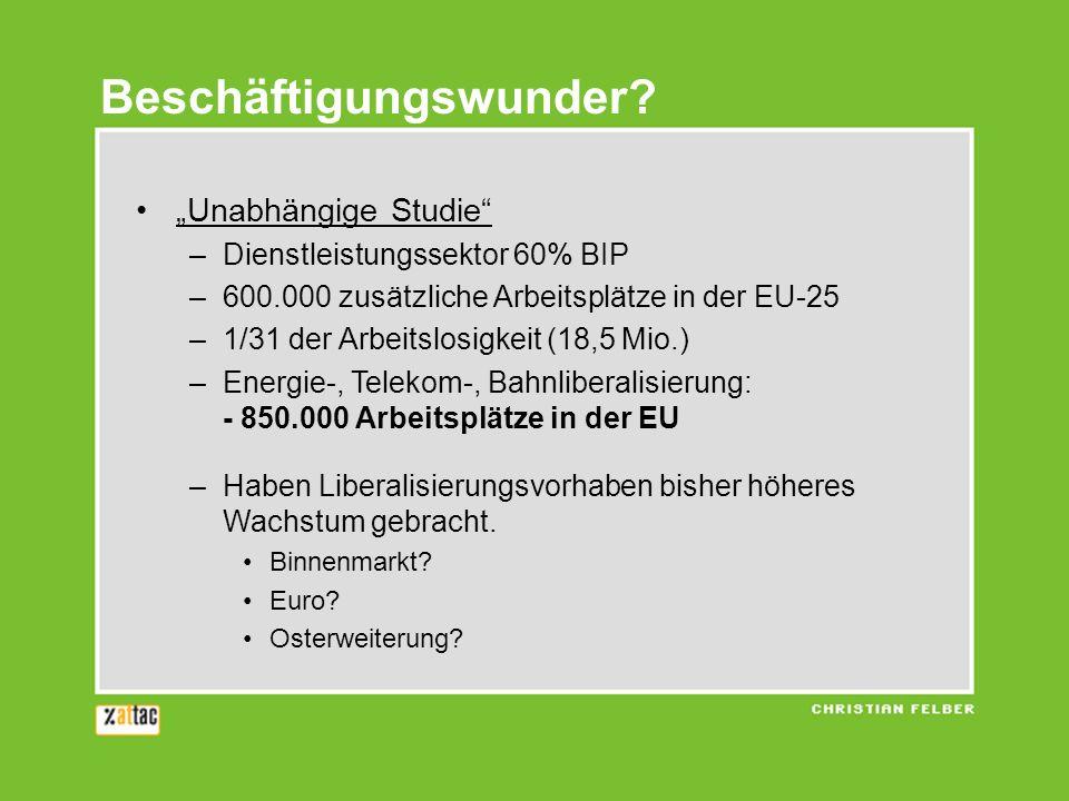 Unabhängige Studie –Dienstleistungssektor 60% BIP –600.000 zusätzliche Arbeitsplätze in der EU-25 –1/31 der Arbeitslosigkeit (18,5 Mio.) –Energie-, Te