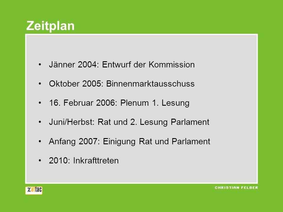 Jänner 2004: Entwurf der Kommission Oktober 2005: Binnenmarktausschuss 16. Februar 2006: Plenum 1. Lesung Juni/Herbst: Rat und 2. Lesung Parlament Anf