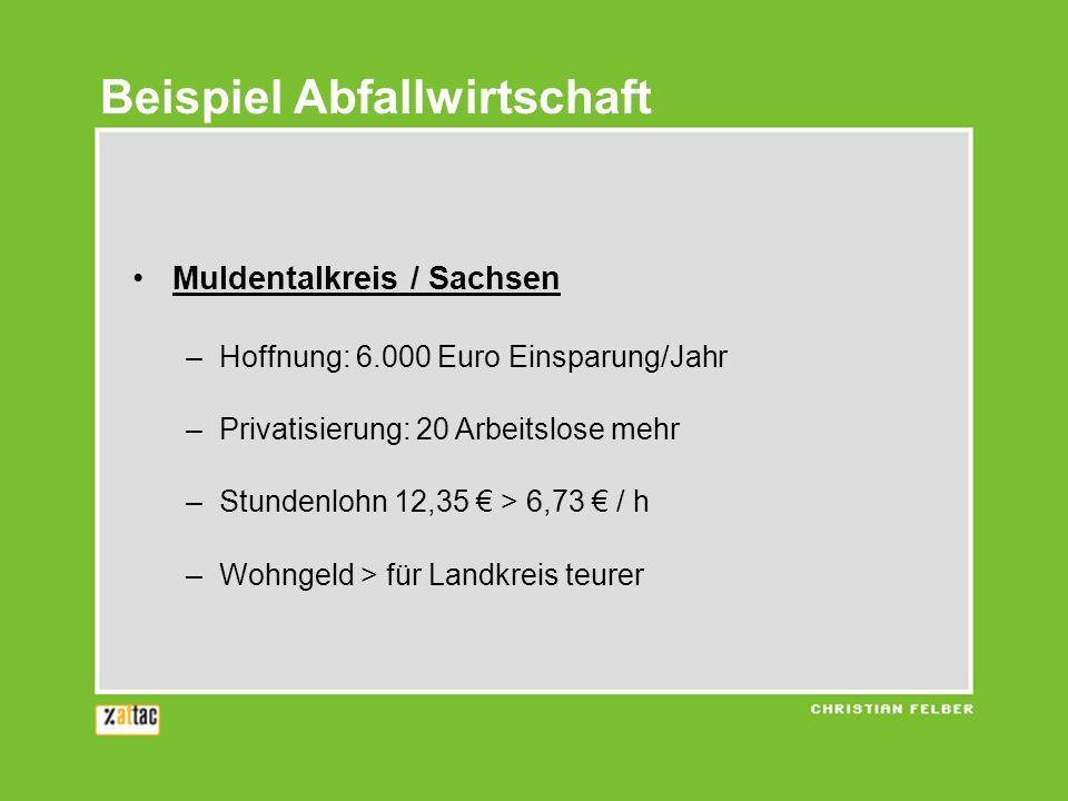 Muldentalkreis / Sachsen –Hoffnung: 6.000 Euro Einsparung/Jahr –Privatisierung: 20 Arbeitslose mehr –Stundenlohn 12,35 > 6,73 / h –Wohngeld > für Land