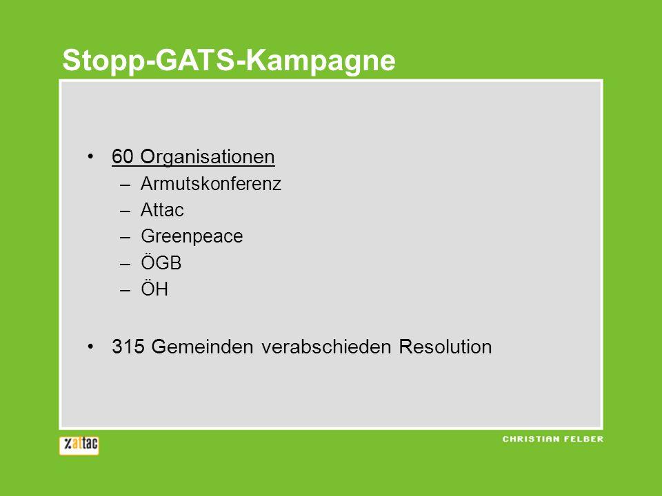 60 Organisationen –Armutskonferenz –Attac –Greenpeace –ÖGB –ÖH 315 Gemeinden verabschieden Resolution Stopp-GATS-Kampagne