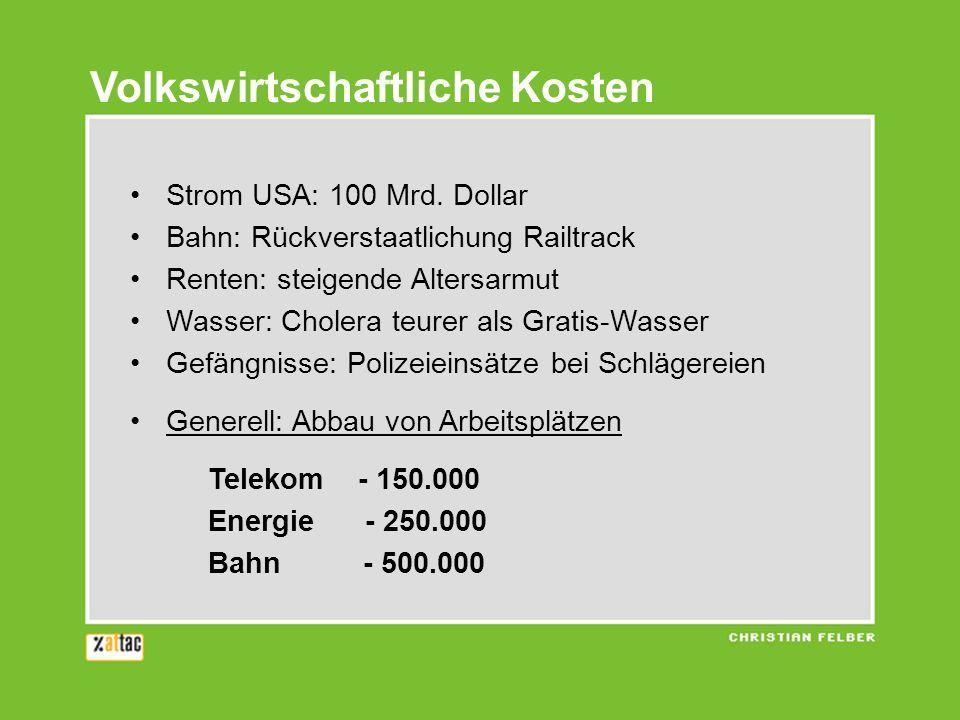 Volkswirtschaftliche Kosten Strom USA: 100 Mrd. Dollar Bahn: Rückverstaatlichung Railtrack Renten: steigende Altersarmut Wasser: Cholera teurer als Gr
