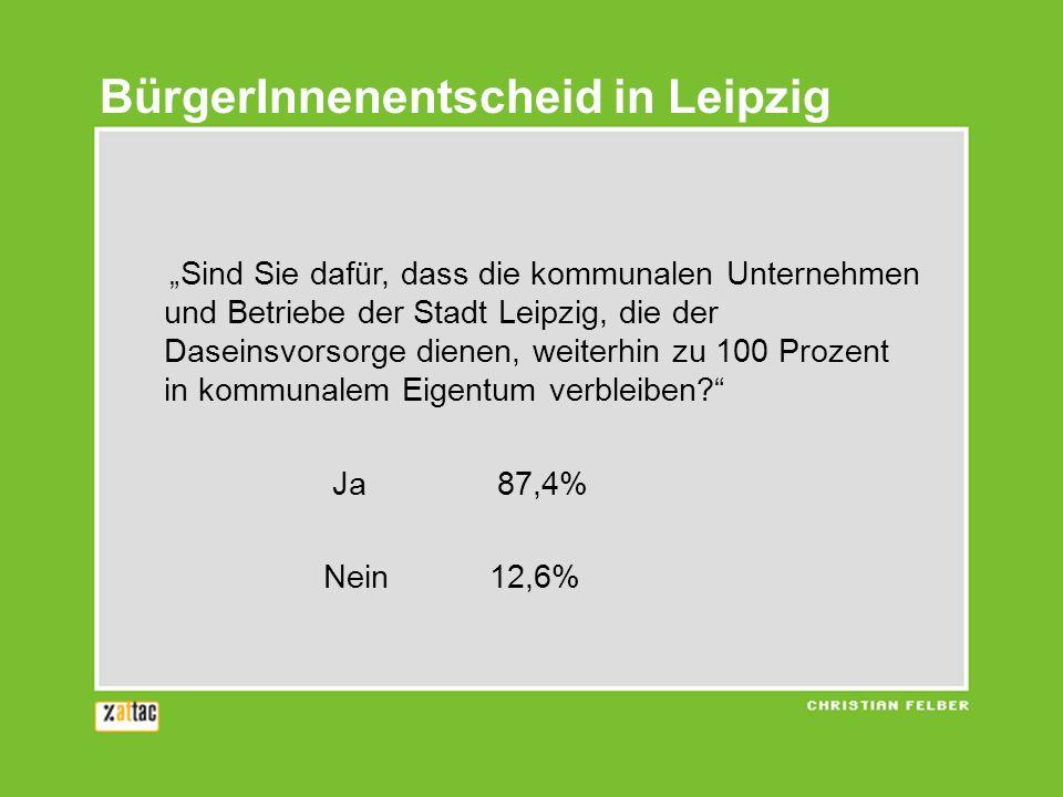 BürgerInnenentscheid in Leipzig Sind Sie dafür, dass die kommunalen Unternehmen und Betriebe der Stadt Leipzig, die der Daseinsvorsorge dienen, weiter