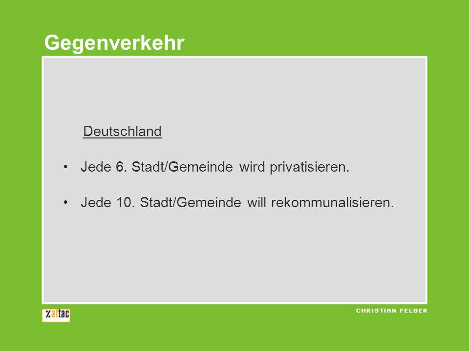 Deutschland Jede 6. Stadt/Gemeinde wird privatisieren. Jede 10. Stadt/Gemeinde will rekommunalisieren. Gegenverkehr