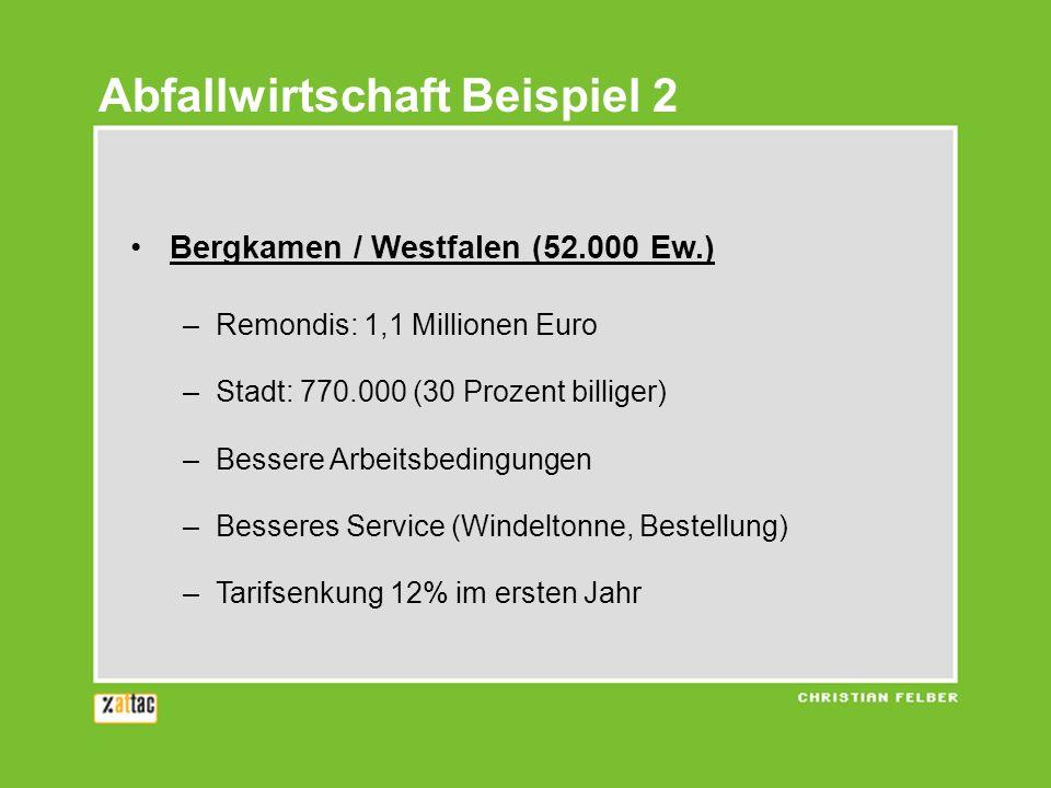 Bergkamen / Westfalen (52.000 Ew.) –Remondis: 1,1 Millionen Euro –Stadt: 770.000 (30 Prozent billiger) –Bessere Arbeitsbedingungen –Besseres Service (