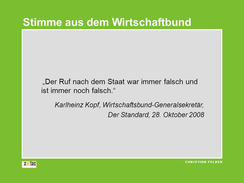 Der Ruf nach dem Staat war immer falsch und ist immer noch falsch. Karlheinz Kopf, Wirtschaftsbund-Generalsekretär, Der Standard, 28. Oktober 2008 Sti