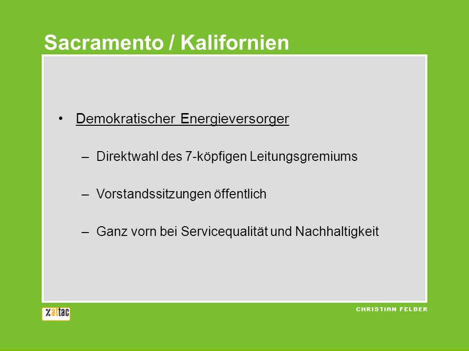 Demokratischer Energieversorger –Direktwahl des 7-köpfigen Leitungsgremiums –Vorstandssitzungen öffentlich –Ganz vorn bei Servicequalität und Nachhalt