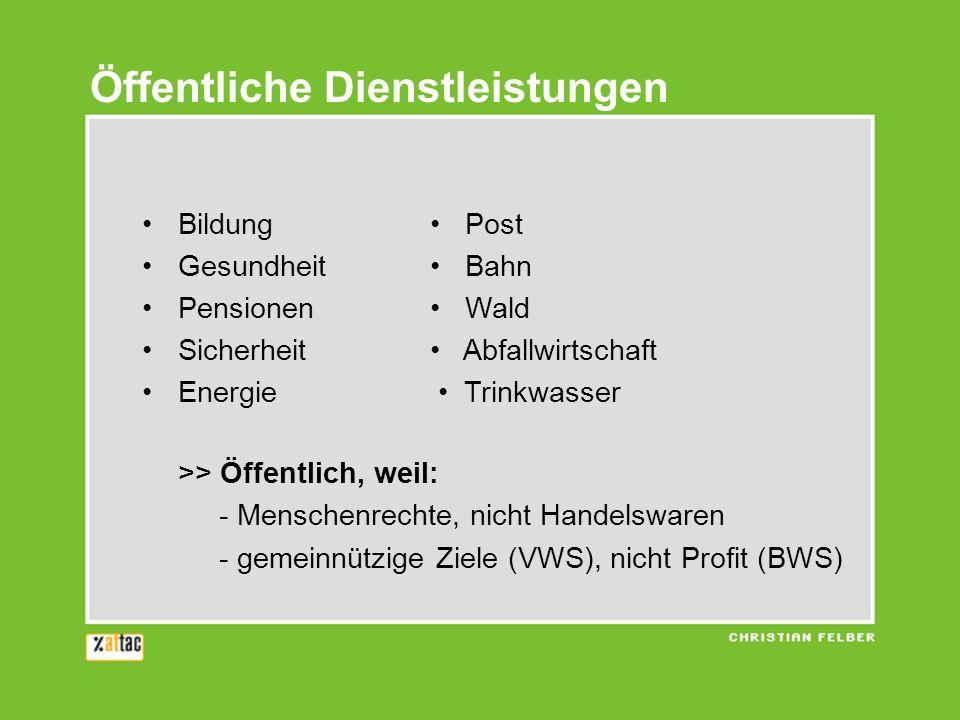 Öffentliche Dienstleistungen Bildung Post Gesundheit Bahn Pensionen Wald Sicherheit Abfallwirtschaft Energie Trinkwasser >> Öffentlich, weil: - Mensch