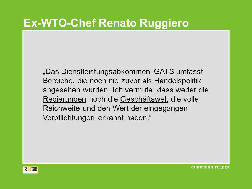 Das Dienstleistungsabkommen GATS umfasst Bereiche, die noch nie zuvor als Handelspolitik angesehen wurden. Ich vermute, dass weder die Regierungen noc